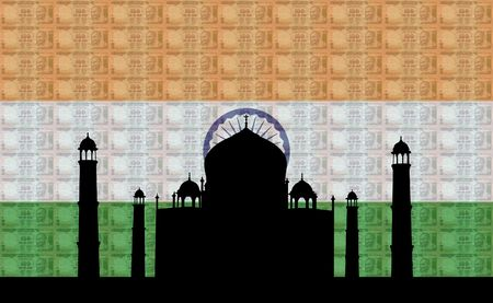 Taj Mahal with 100 rupees notes and Indian flag illustrations illustration