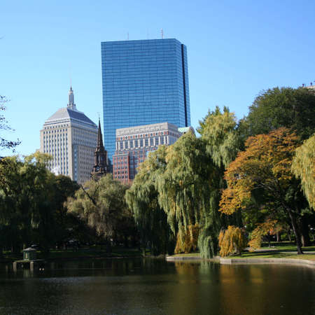 john hancock: John Hancock tower from Public garden Boston