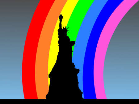 refracted: Statue of Liberty New York with colourful rainbow illustration Stock Photo