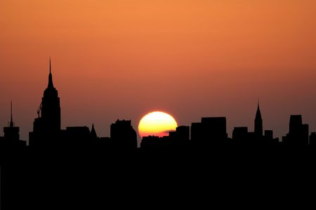 Midtown Manhattan skyline at sunset with beautiful sky illustration