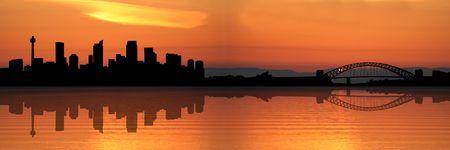 australian: Sydney skyline at sunset with beautiful sky illustration