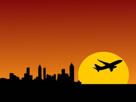 to ascend: plane taking off at sunrise and Atlanta skyline illustration