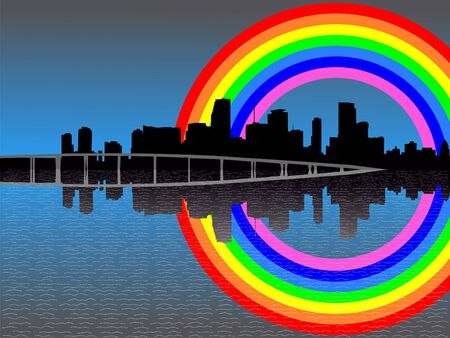 refracted: Miami skyline reflected with colourful rainbow illustration Stock Photo