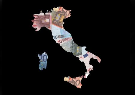 Map of Italy with collage of colourful euro notes illustration illustration