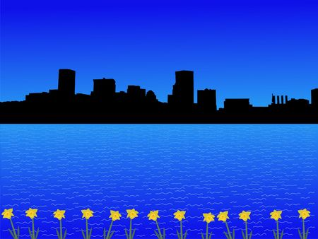 baltimore: Baltimore Inner Harbor in spring with daffodils illustration  Stock Photo
