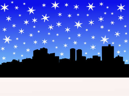 Fort Worth skyline in winter with falling snow illustration Stock Illustration - 2558569