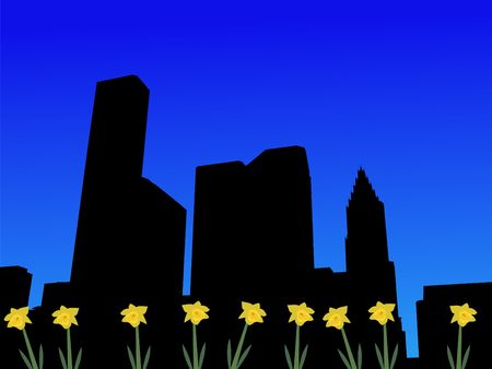 houston: Houston skyline in spring with daffodils illustration Stock Photo