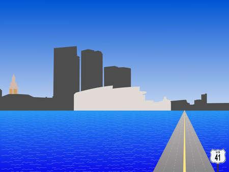 highway 41 leading to Bayside Miami skyline illustration