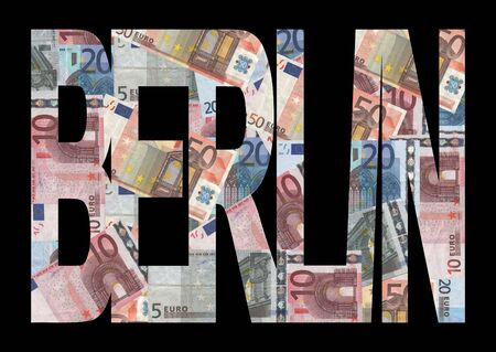 Berlin text with collage of colourful euro notes illustration illustration