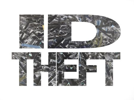id theft: ID theft text with shredded paper inverted colour background