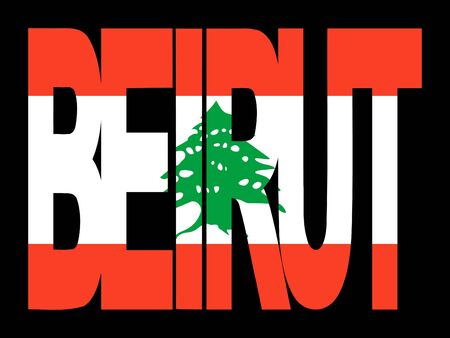 overlapping Beirut text with their flag illustration illustration