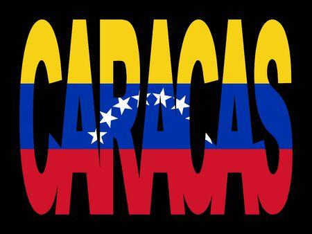 caracas: overlapping Caracas text with their flag illustration