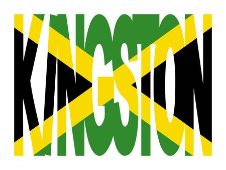 kingston: overlapping Kingston text with their flag illustration