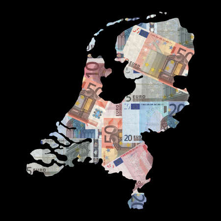 Map of Netherlands with collage of colourful euro notes illustration illustration