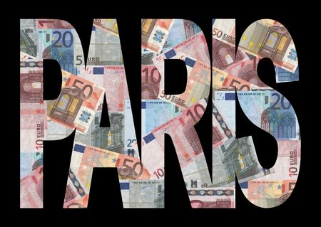 Paris text with collage of colourful euro notes illustration illustration