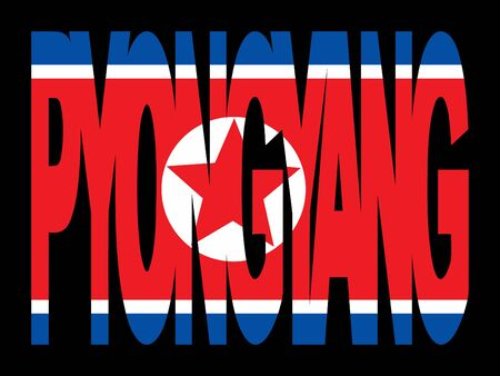pyongyang: overlapping Pyongyang text with their flag illustration Stock Photo