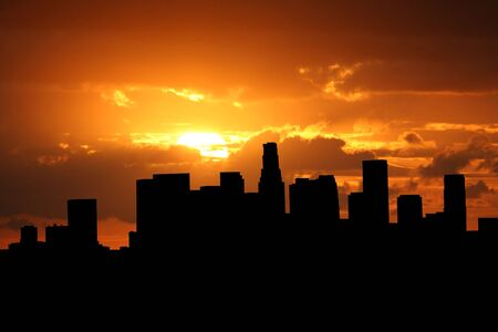 sunset clouds: Los Angeles skyline at sunset with beautiful sky illustration