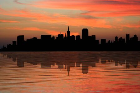 transamerica: Coit tower and San Francisco skyline reflected at sunset illustration