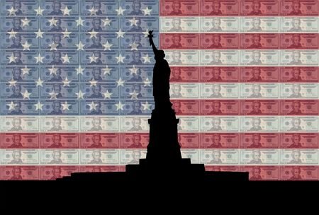 greenbacks: Statue of Liberty with American flag and twenty dollar bills