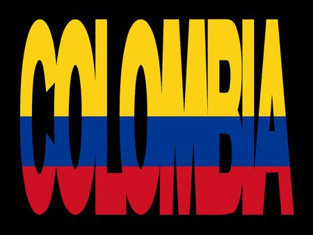 colombian: overlapping Colombia text with their flag illustration Stock Photo