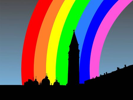 refracted: St Marks Square and Campanile Venice with rainbow Stock Photo