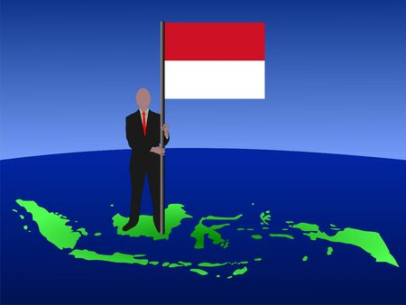 business man standing on map of Indonesia with flag  photo