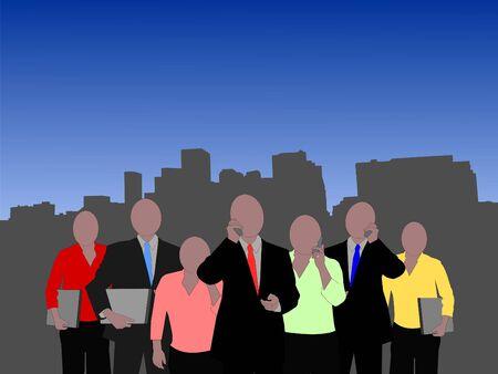 Denver skyline with seven member business team illustration  Stock Photo