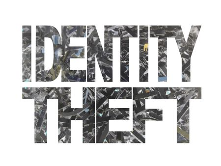 felony: Identity theft text with shredded paper inverted colour