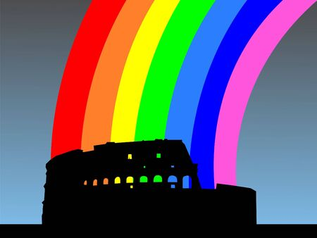 colloseum: Colosseum Rome with colourful rainbow illustration