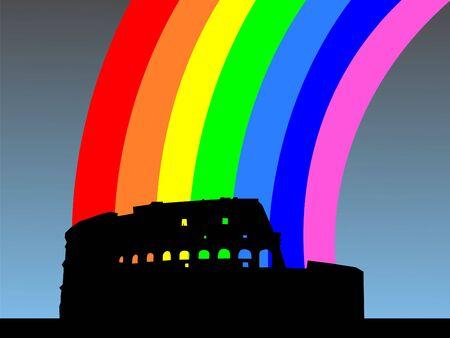 colloseum: Colosseum Rome with colourful rainbow illustration