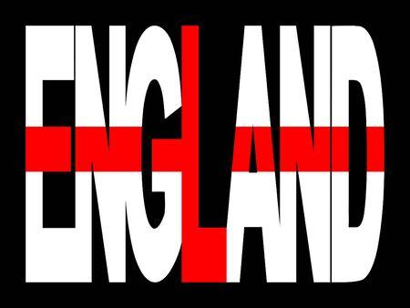 Texto de Inglaterra con su ilustración de bandera superpuesto Foto de archivo - 2603033