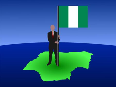 business man standing on map of Nigeria with flag photo