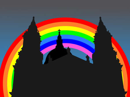 st pauls: St Pauls cathedral London with colourful rainbow illustration Stock Photo