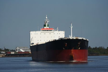 empty oil tanker on Mississippi River photo