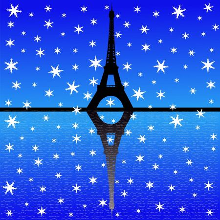 iciness: Eiffel tower in winter with falling snow illustration
