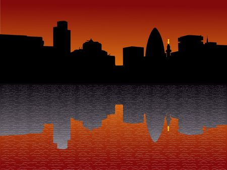 gherkin building: London Skyline including Gherkin and Monument at sunset Stock Photo