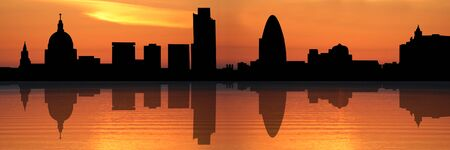 Panoramic view of St Pauls Cathedral and London skyline reflected at sunset illustration