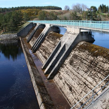 hydroelectric dam with reservoir
