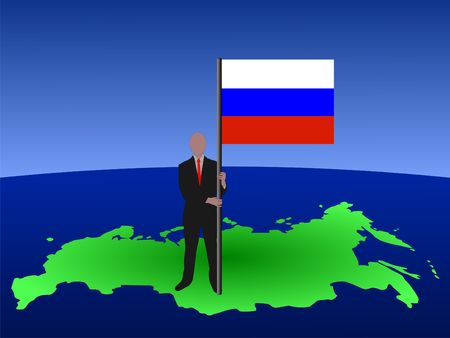 federation: business man standing on map of Russian Federation with flag