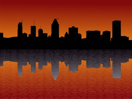 quebec: Montreal skyline reflected at sunset illustration Stock Photo