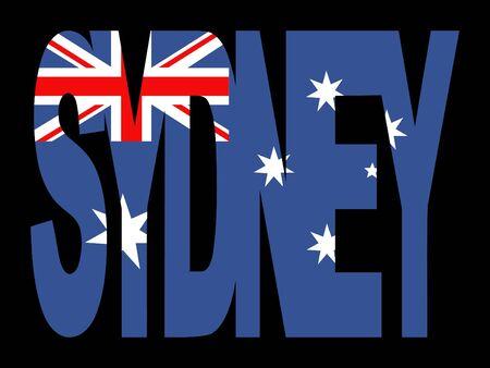 Sydney superposición de texto con bandera australiana ilustración  Foto de archivo - 2617039