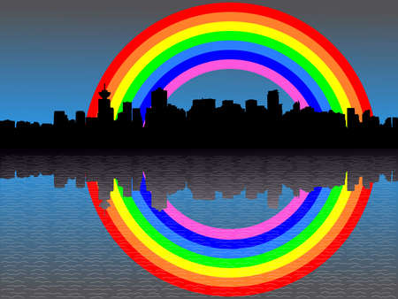 refracted: Vancouver skyline and colourful rainbow reflected illustration Stock Photo