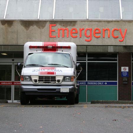 emergency room entrance with ambulance photo