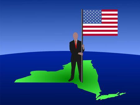 business man on New York map with flag illustration illustration