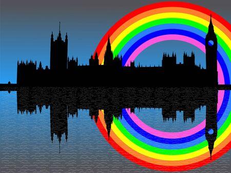 Casas del parlamento Londres con la ilustración colorida del arco iris Foto de archivo - 2626705