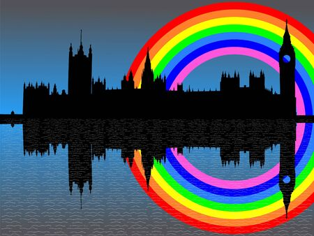 Houses of parliament London with colorful rainbow illustration illustration