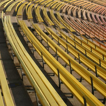 colorful painted benches of stadium seating Stock Photo - 2626701