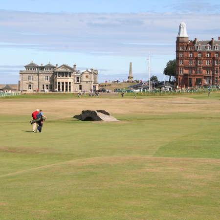 scotland: Golfers walking back to Club House, St Andrews