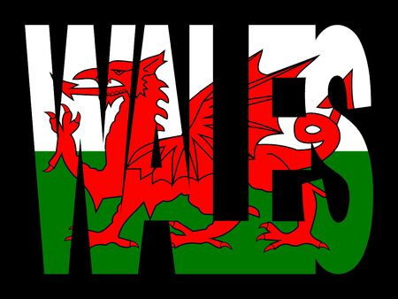 welsh flag: overlapping Wales text with their flag illustration Stock Photo