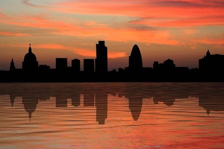 st pauls: St Pauls cathedral and London skyscrapers at sunset illustration
